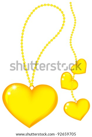Gold heart on chain. Isolated on white background - stock vector
