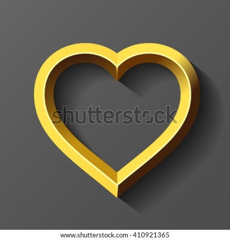 Gold heart, vector - stock vector