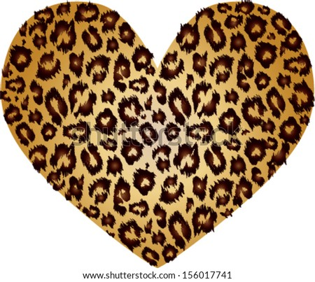 Gold heart with leopard print texture pattern