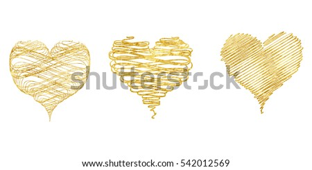 Gold hearts set, valentines day collection, isolated on white background. Golden romantic decorative icons for wedding glittering card. Hand drawn elements, vector illustation.