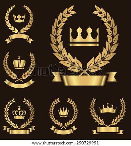 Gold Heraldry Emblems - Set of gold heraldry emblems with crown, wreath and banner.  Colors in gradients are global  Each emblem is grouped individually for easy editing. - stock vector