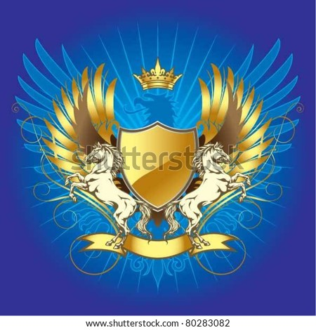 Gold heraldry shield with horse - stock vector