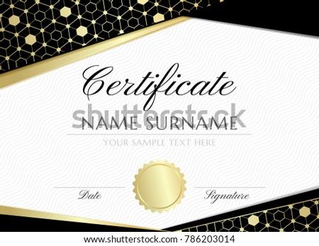 Gold Hexagons Certificate Design Template Graduation Stock Photo - Graduation banner template