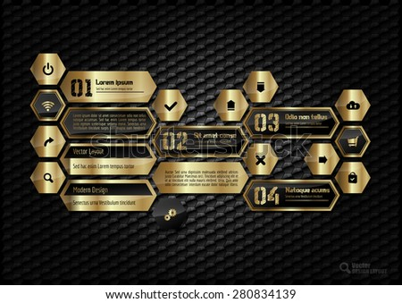 Gold hexagons layout with icons, symbols and sample text.