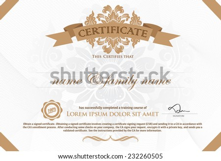 Gold horizontal certificate template with additional design elements Premium VIP Certificate : Vector illustration of gold detailed certificate. - stock vector