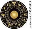 Gold horoscope circle. Vector illustration. - stock photo