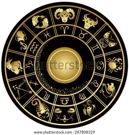 Gold horoscope circle. Vector illustration.