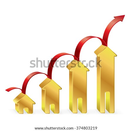 Gold House graph with red arrow, Business concept, Illustration Vector eps10 - stock vector