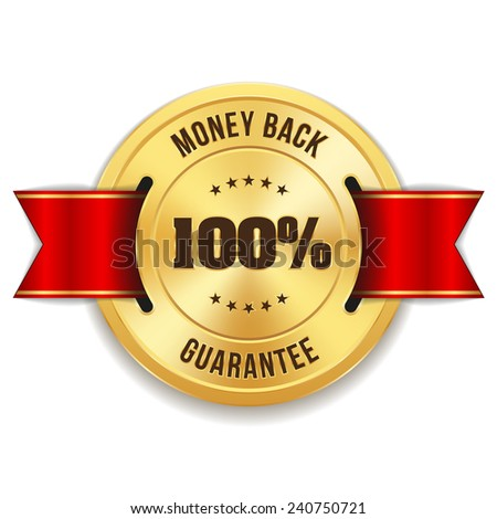 Gold hundred percent money back badge with red ribbon on white background