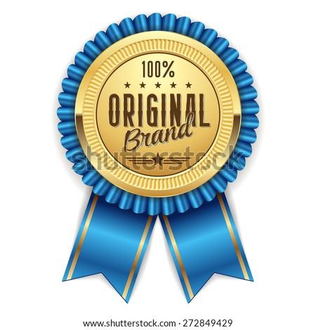 Gold hundred percent original badge with light-blue ribbon - stock vector