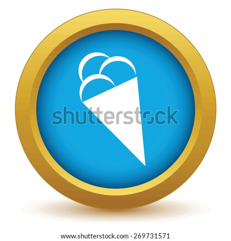 Gold ice cream icon on a white background. Vector illustration - stock vector