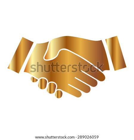 Gold icon handshake. background for business and finance