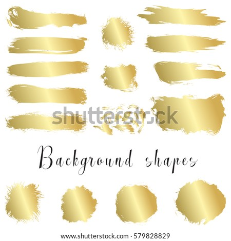 Gold ink borders, brush strokes, stains, banners, blots, splatters. Vector set of golden hand drawn grunge elements isolated on white background.
