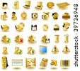 Gold interface icons - stock vector