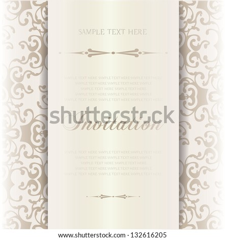 gold invitation,announcements - stock vector
