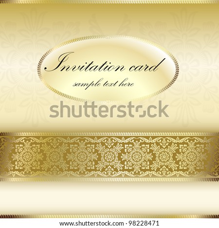 Gold invitation card with ornament motif - stock vector