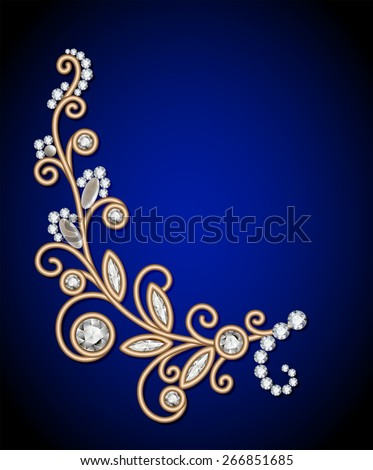 Gold jewelry background with diamond sprig, elegant jewellery floral decoration, vector greeting card or invitation template - stock vector