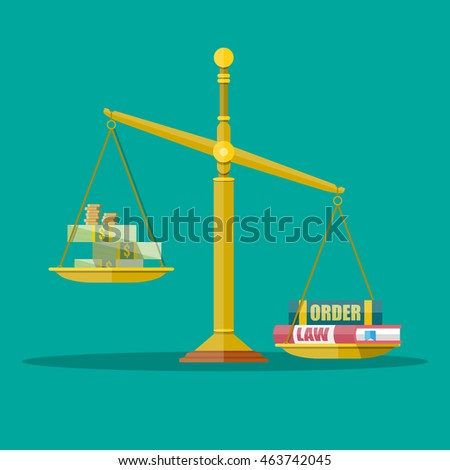 Gold Justice scales with dollar cash, coins and law, order books. making decision between money and law. vector illustration in flat style on green background