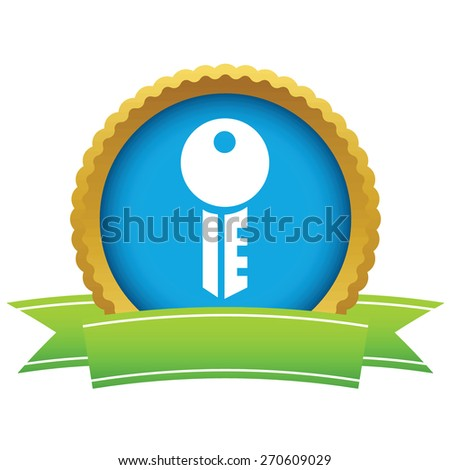 Gold key logo on a white background. Vector illustration - stock vector