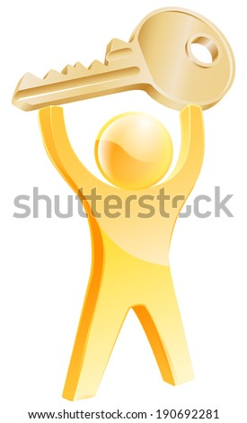 Gold key person concept of a gold mascot holding up a car or house key. Concept for general solving problems or specific to real estate or car - stock vector