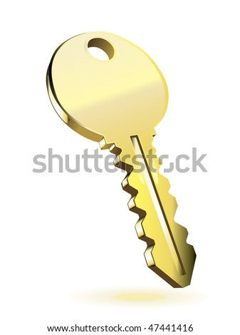 Gold key. Vector illustration isolated on white background - stock vector
