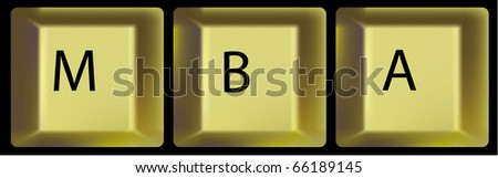 Gold keys with letters. A keyboard part. A vector - stock vector