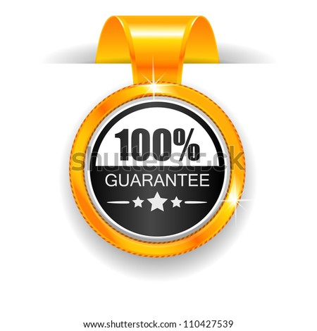 Gold label. 100% Guarantee - stock vector
