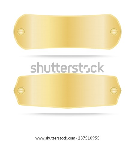 Gold label metal or Metallic gold name plate .Vector illustration