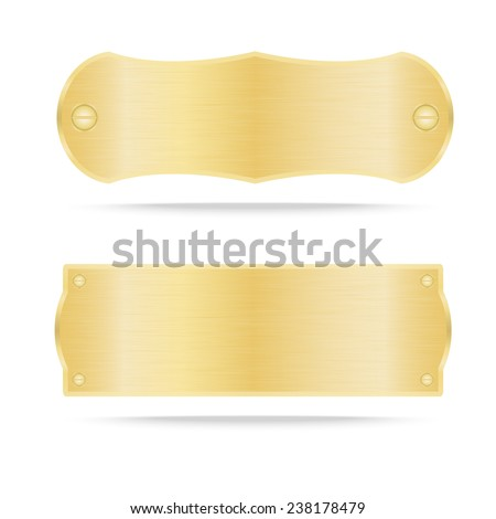 Gold label metal or Metallic gold name plate .Vector illustration - stock vector