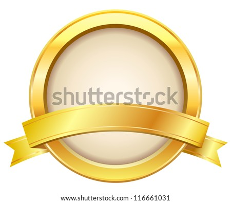 Gold label with ribbon - stock vector