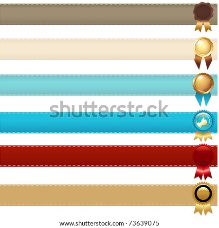 Gold Label With Ribbons, Isolated On Black Background, Vector Illustration - stock vector