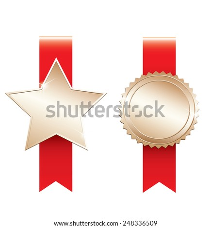 Gold labels - stock vector