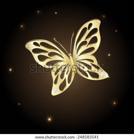 Gold Lace butterfly on brown background.  Vector illustration. - stock vector
