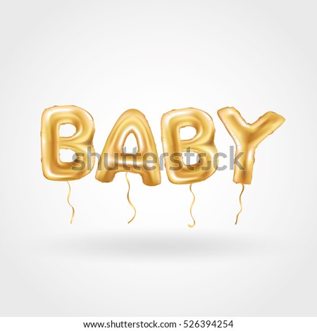 Gold Letter Baby Balloons Birthday Gold Stock Vector