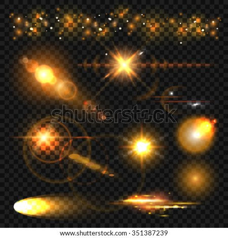 Gold light effect. Set of glowing light effect stars bursts with sparkles on transparent background. Glowing light. Stars and sparkles. Bokeh light background. Isolated on black transparent background - stock vector