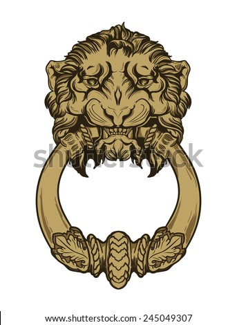 Gold lion head door knocker. Hand drawn vector illustration