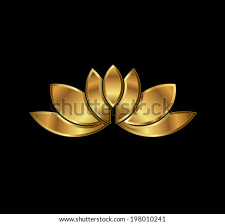Gold Lotus plant image. Concept of luxury spa, good fortune, purity. Vector icon - stock vector