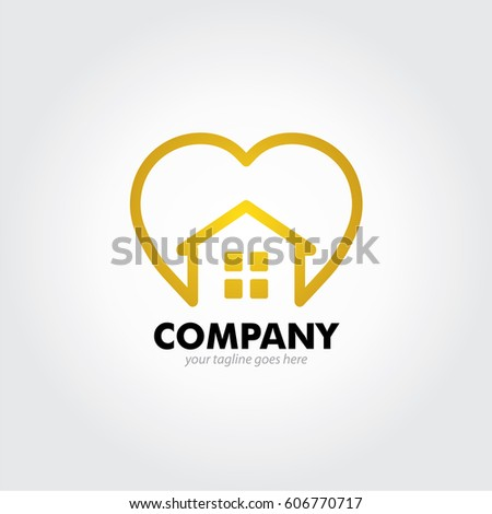 Gold love home minimalist simple logo design stock vector for Minimalist house logo