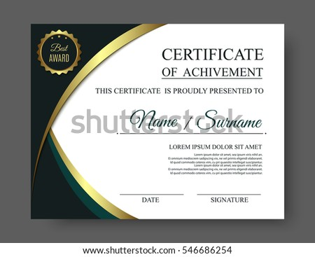 Gold Luxury Certificate Achivement Template Golden Stock ...