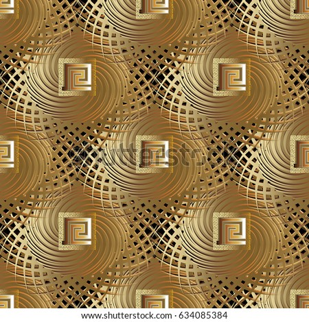 Gold Luxury Geometric Seamless Pattern Golden Stock Vector