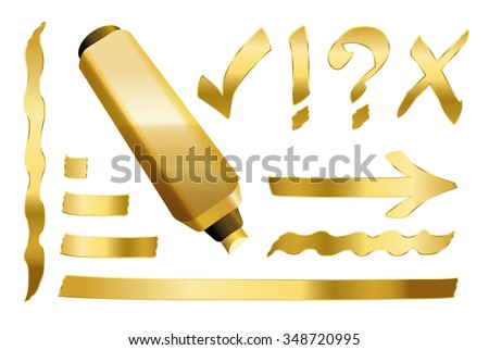 Gold marker - plus some gilded signs like call sign, question mark, tick mark, arrow and underlining. Vector illustration over white background. - stock vector