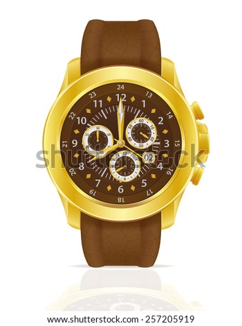 gold mechanical wristwatch watch with leather strap vector illustration isolated on white background - stock vector