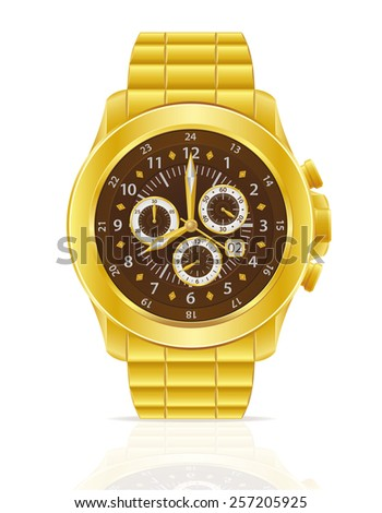 gold mechanical wristwatch with bracelet vector illustration isolated on white background - stock vector