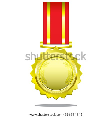 Gold medal blank with ribbon.
