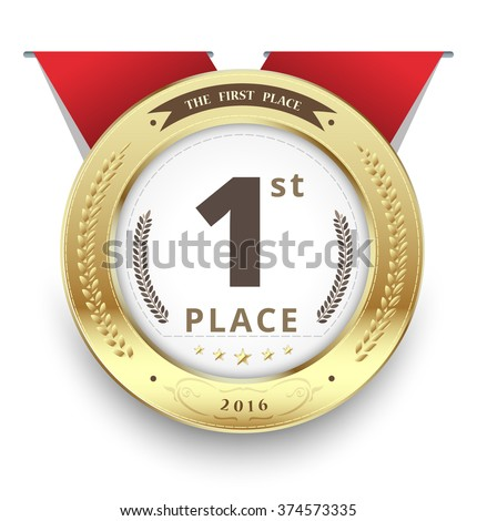 Gold medal for first place. vector illustration - stock vector