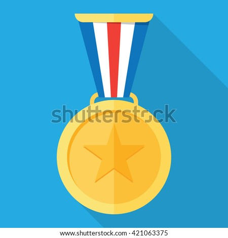Gold medal. Gold medal icon. Gold medal with long shadow. Isolated gold medal. Gold medal for first place. Gold medal flat icon - stock vector