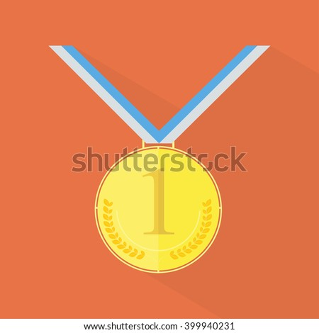 Gold medal icon. Golden medal. Gold medal with long shadow on the background. Gold medal for first place. Gold medal flat icon. Medal with tapes. Vector illustration - stock vector