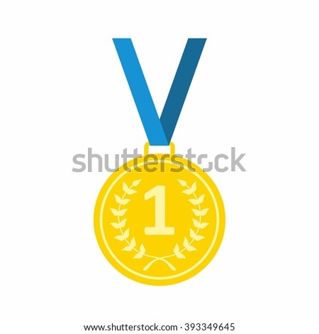 Gold Medal icon. Medal icon in flat style isolated on white background. Gold Medal icon Vector Illustartion - stock vector