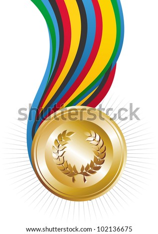 Gold medal illustration. Vector file layered for easy manipulation and custom coloring. - stock vector