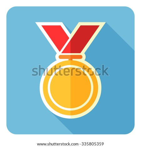 Gold medal isolated on a blue background. Vector illustration. Flat design. - stock vector